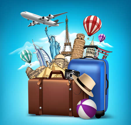 tourism: Travel and Tourism with Famous World Landmarks in 3d Realistic and Drawing Elements. Vector Illustration