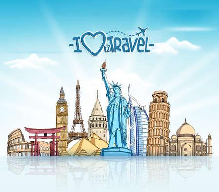 boceto: Viajes y Turismo Fondo con famosos monumentos del mundo en 3D realista y elementos de dibujo Sketch. Ilustraci�n vectorial