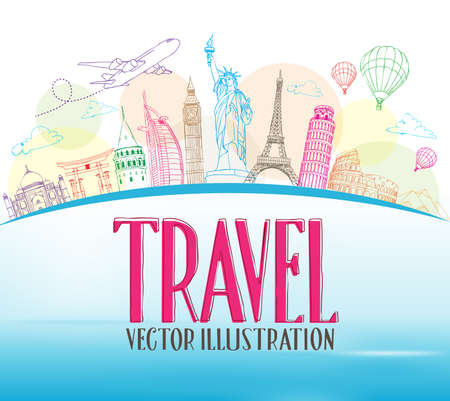 Travel Concept Design Background of Line Drawing of Famous Landmarks Around The World. Vector Illustration