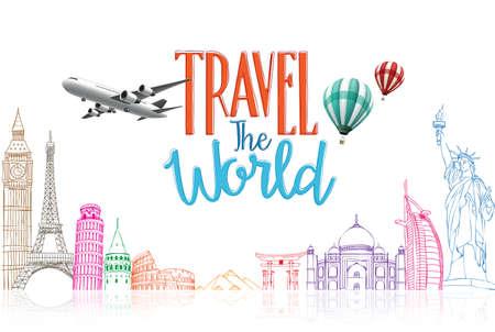 avion caricatura: Viajes El Fondo Mundial T�tulo Concepto Dise�o del dibujo lineal de los monumentos famosos en el fondo blanco. Ilustraci�n vectorial