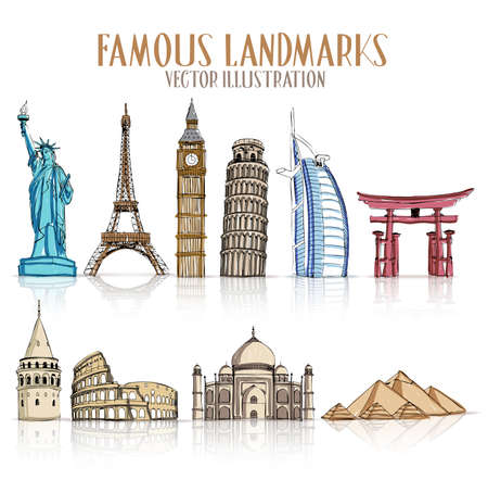hand drawn cartoon: Set of Colorful Drawing of Famous and Popular Landmarks for Traveling Isolated in White Background. Vector Illustration
