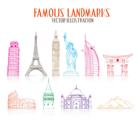 Set of Colorful Hand Drawn Famous and Popular Landmarks for Traveling Isolated in White Background. Vector Illustration Ilustracja