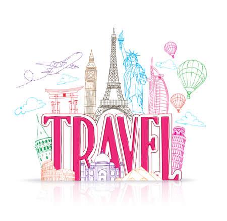 Travel Title Concept Design Background of Line Drawing of Famous Landmarks Around The World. Vector Illustration Illustration