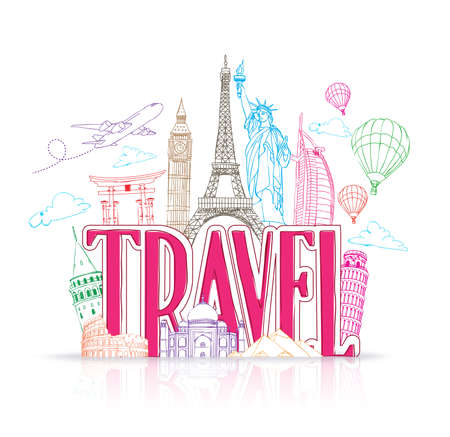 Travel Title Concept Design Background of Line Drawing of Famous Landmarks Around The World. Vector Illustration Ilustracja