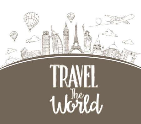 travel: Podróżować po świecie tle projektu i rysunek linii znanych zabytków na całym świecie. Ilustracja wektora Ilustracja