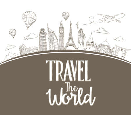 famous place: Travel The World Design Background of Line Drawing of Famous Landmarks Around The World. Vector Illustration