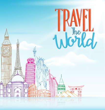 Travel The World Concept Design Background of Line Drawing of Famous Landmarks in Blue Horizon. Vector Illustration Illustration