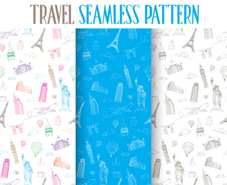 airplane: Set of Hand Drawn Travel the World Seamless Pattern. Vector Illustration