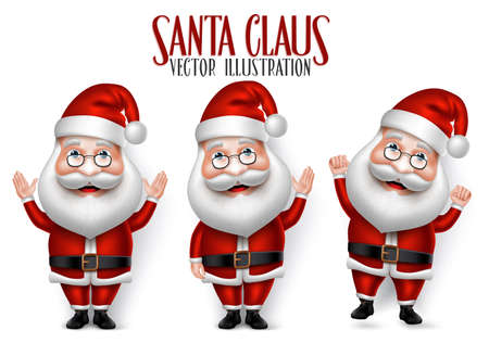 papa noel: Conjunto de 3D realista personaje de dibujos animados de Santa Claus para Navidad Decir hola Aislado en el fondo blanco. Ilustración vectorial