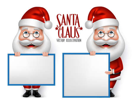 claus: Set of 3D Realistic Santa Claus Cartoon Character for Christmas Holding Blank Board Isolated in White Background. Vector Illustration