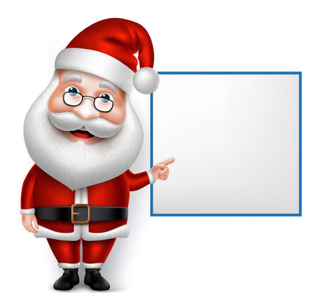 白い背景で分離された空白のボードを持ってクリスマスの 3 D リアルなサンタ クロース漫画のキャラクター。ベクトル図