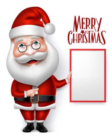 3D 현실적인 산타 클로스 만화 캐릭터 지주 메리 크리스마스 흰색 배경에서 격리 된 빈 보드를 잡고. 벡터 일러스트 레이션