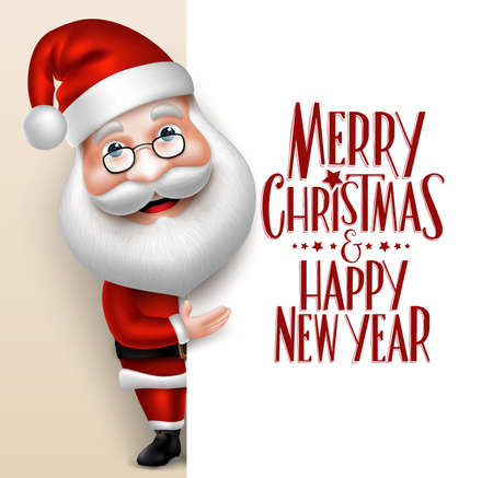 xmas: 3D Realistic Santa Claus Cartoon Character Showing  Merry Christmas Tittle Written  in Blank Space. Vector Illustration