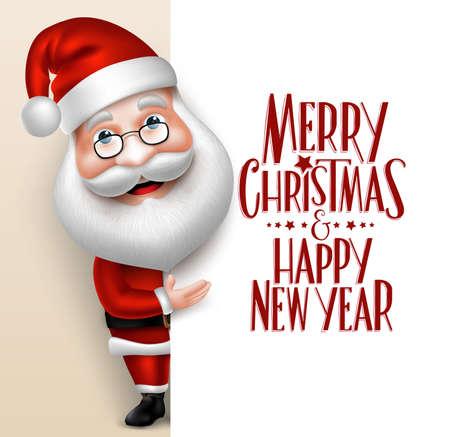 personaje: Realista personaje de dibujos animados de Santa Claus 3D Mostrando Feliz Navidad Tittle Escrito en el espacio en blanco. Ilustración vectorial