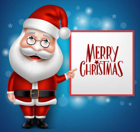3D Realistic Santa Claus Cartoon Character Showing  Merry Christmas Written  in Blank Board with Blue Background. Vector Illustration