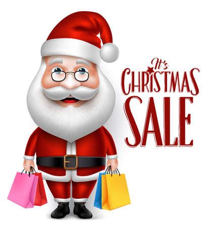 papa noel: 3D realista personaje de dibujos animados de Santa Claus Holding bolsos de compras aislados en el fondo blanco. Ilustración vectorial