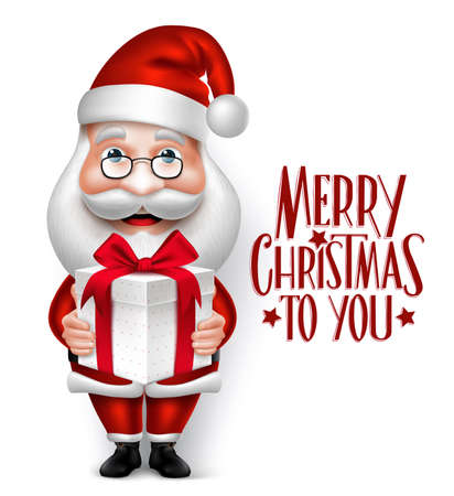 3D Realistic Santa Claus Cartoon Character Holding Christmas Gift Isolated in White Background with Title. Vector Illustration