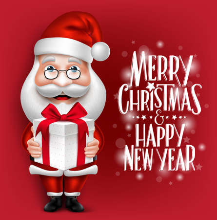 3D Realistic Santa Claus Cartoon Character Holding Christmas Gift in a Red Background with Title. Detailed Vector Illustration