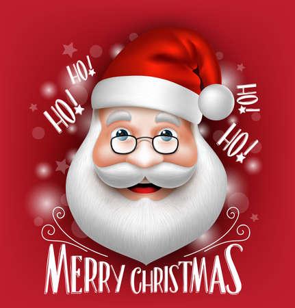 3 D のリアルなサンタ クロースのヘッドが赤い背景にメリー クリスマスの挨拶します。詳細なベクトル図  イラスト・ベクター素材