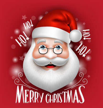 cabeza: Realista felicitaci�n Cabeza de Pap� Noel 3D Feliz Navidad en un fondo rojo. Ilustraci�n vectorial detallada