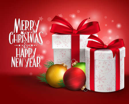 ecard: 3D Realistic Red Gifts with Merry Christmas Greeting with Xmas Balls in a Glossy Background. Vector Illustration Illustration