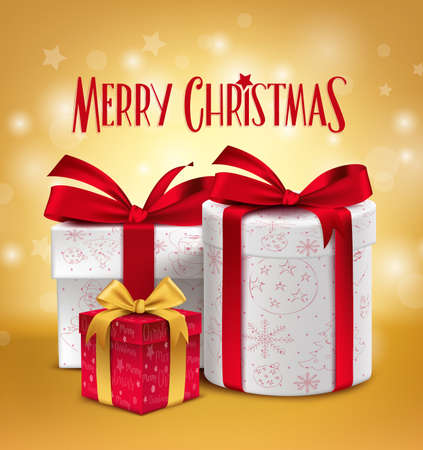 ecard: 3D Realistic Red Gifts with Merry Christmas Greeting Celebration Design with Glossy Gold Background. Vector Illustration