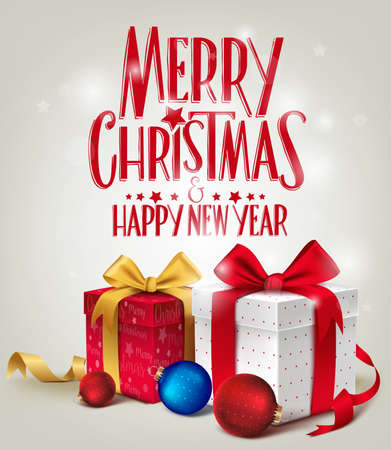 3D Realistic Red Gifts with Merry Christmas Greeting for Card or Poster Design with Glossy Background. Vector Illustration