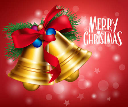 campanas de navidad: 3D realistas campanas Feliz Navidad colgando con cinta roja en el fondo claro con saludos. Ilustraci�n del vector