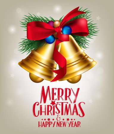 Realistische 3D Frohe Weihnachten Glocken hängen mit rotem Band in hellen Hintergrund mit Grüße. Vector Illustration