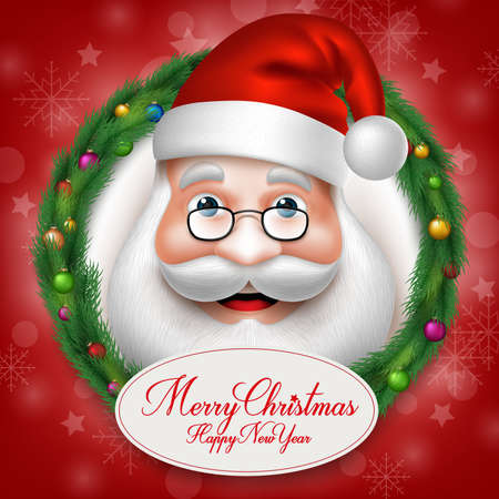 claus: 3D Realistic Santa Claus Head Character Inside Christmas Wreath with Greetings. Vector Illustration