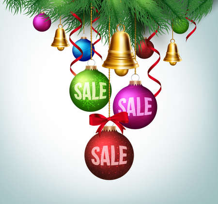christmas balls: 3D Realistic Christmas Sale in Colorful Balls Hanging with Leaves for Promotion. Vector Illustration