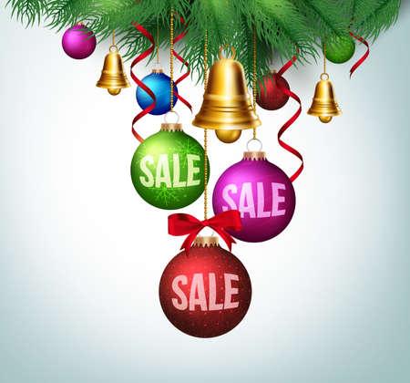 campanas navidad: 3D Venta de Navidad Realista en bolas coloridas colgantes con las hojas de Promoci�n. Ilustraci�n vectorial