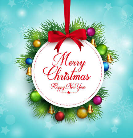 holiday backgrounds: 3D Realistic Merry Christmas Greetings Title Hanging in Snow Background with Colorful Balls and Bells. Vector Illustration