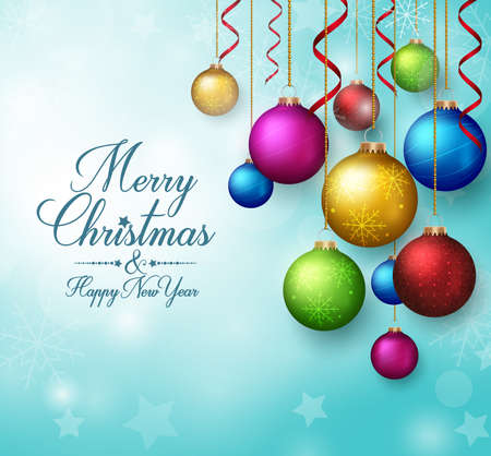 christmas balls: 3D Realistic  Merry Christmas Greetings with Hanging Christmas Balls in Winter Background. Vector Illustration