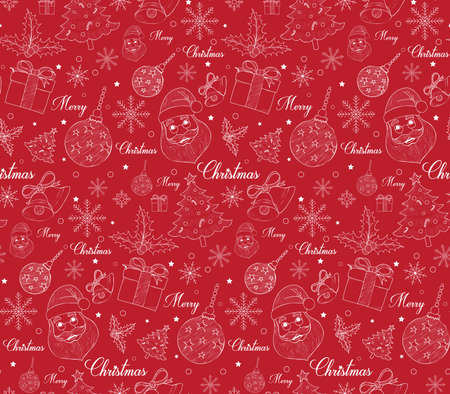 Seamless Merry Christmas Pattern of Line Drawings with Xmas Elements. Continuous Vector Illustration