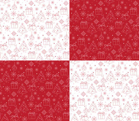 dibujos lineales: Seamless Merry Christmas Pattern of Line Drawings with Xmas Elements. Continuous Vector Illustration