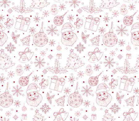winter snow: Seamless Merry Christmas Pattern of Line Drawings with Xmas Elements. Continuous Vector Illustration