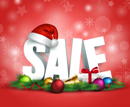 for sale: 3D Christmas Sale Text for Promotion with a Christmas hat  and Decorations in Red Background. Realistic Vector Illustration