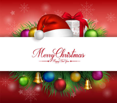 Merry Christmas Greetings Card in White Space for Text with Decorations and Objects in Background. Vector Illustration