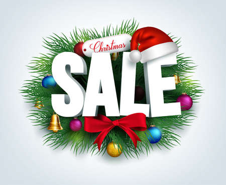 sales person: 3D Christmas Sale Text for Promotion with a Leaves and Christmas Decorations in White Background. Realistic Vector Illustration