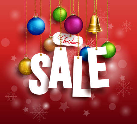 3D Christmas Sale Text Hanging for Promotion with a Christmas Balls and Decorations in Red Background. Realistic Vector Illustration