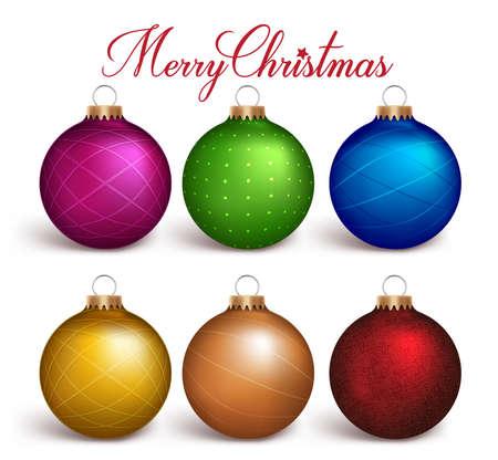 白い背景で分離されたリアルな 3 D のカラフルなクリスマス ボール装飾のセットです。ベクトル図  イラスト・ベクター素材