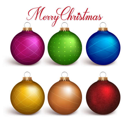 ornaments vector: Set of Realistic 3D Colorful Christmas Balls Decoration Isolated in White Background. Vector Illustration