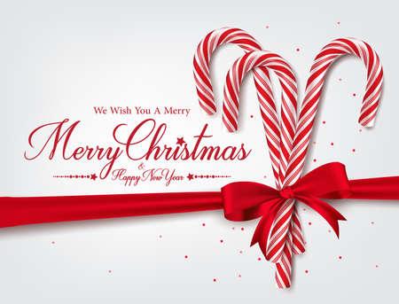 Saludos Feliz Navidad en 3D realista del bastón de caramelo y bolas de Navidad en el fondo. Ilustración vectorial