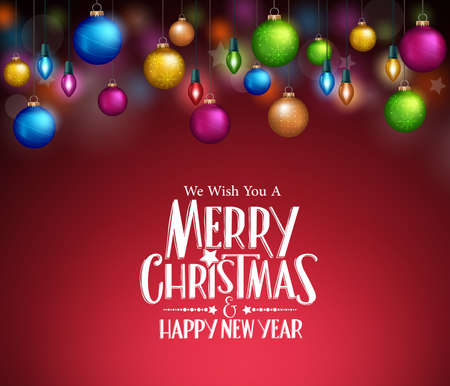 balls: Merry Christmas Greetings in Realistic Colorful Christmas Lights and Balls in Dark Background. Vector Illustration