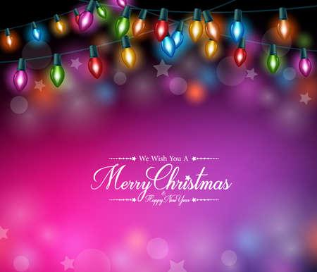 暗いバック グラウンドに現実的なカラフルなクリスマス ライト クリスマスのご挨拶。ベクトル図