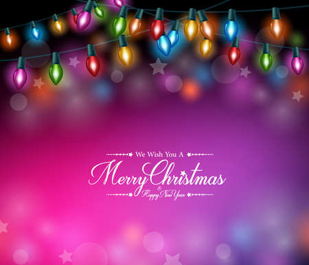 Merry Christmas Greetings in Realistic Colorful Christmas Lights in Dark Background. Vector Illustration
