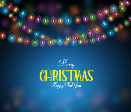 Merry Christmas Greetings with Realistic 3D Colorful Christmas Lights Hanging in Dark Night Background. Vector Illustration Vettoriali