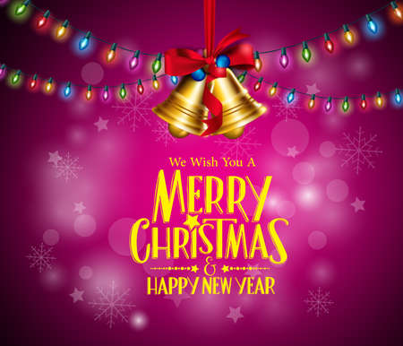 christmas lights: Merry Christmas Greetings with Realistic 3D Bells and Colorful Christmas Lights Hanging in Dark Night Background. Vector Illustration