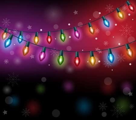 Światła: Pozdrowienia Merry Christmas z Realistyczne 3D Kolorowe Christmas Lights wiszące w ciemnej nocy Tle. Ilustracja wektora